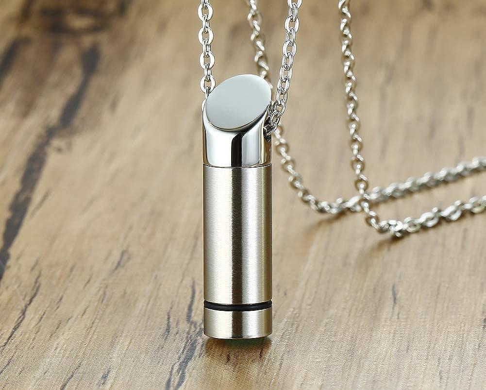 Alloy Tube Pendant Necklace Cylinder Urn Ashes