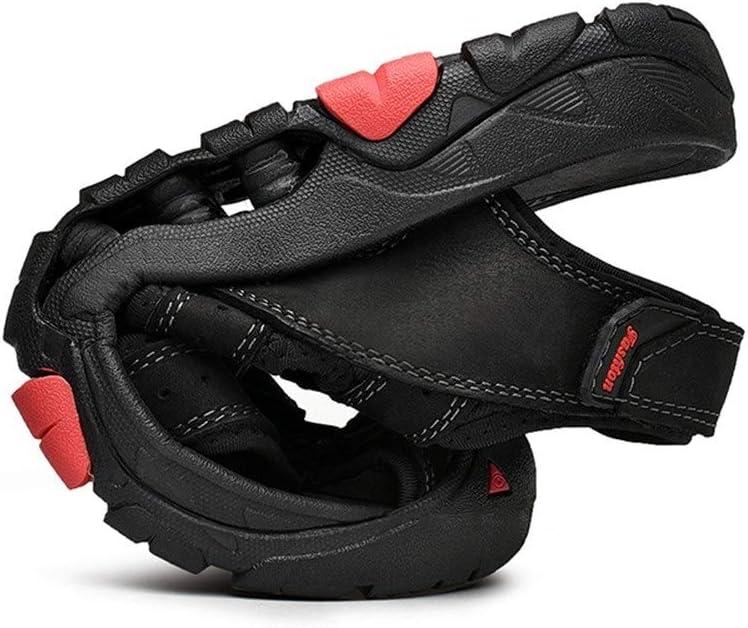 Watermelon Scarpe estive da Uomo Outdoor Timberland Sports Sandali Traforati Back Heel Velcro Close Toes (Color : Nero, Dimensione : 44 EU)