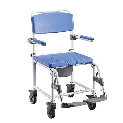APEX Enea| Silla de ruedas con freno para ducha y baño| Con inodoro incluido