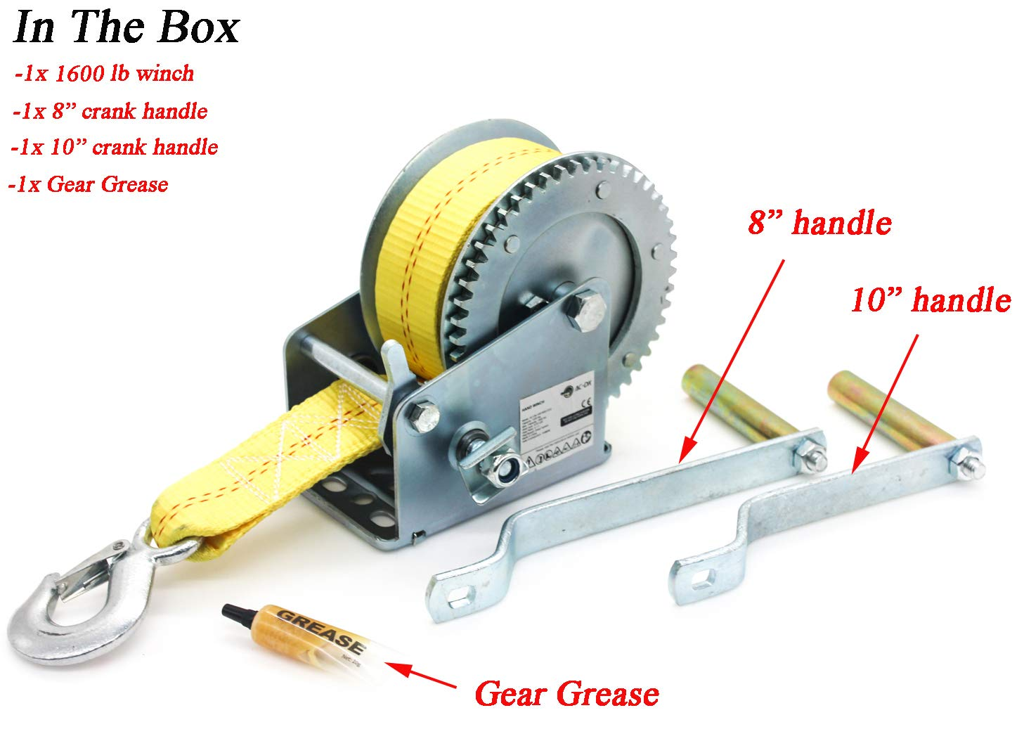 AC-DK Manual Operation 1600 lb Hand Gear Winch Including Gear Grease and Two Crank Handles with 25 FT Strap for Pulling Boats Trailers and Trucks