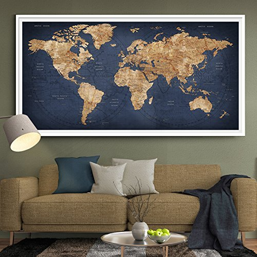 Amazon xlarge world map poster print watercolor map world xlarge world map poster print watercolor map world countries cities push pin travel wall color navy gumiabroncs Choice Image