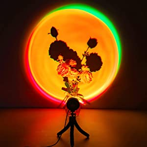 UooEA Sunset Lamp, Rainbow Sunset Projection Lamp, Halo Novelty LED Night Light with 14 Color & 2 Dynamic Modes, Romantic USB Mood Light and Ambience Lighting for Room Decor, Selfie, and Photography