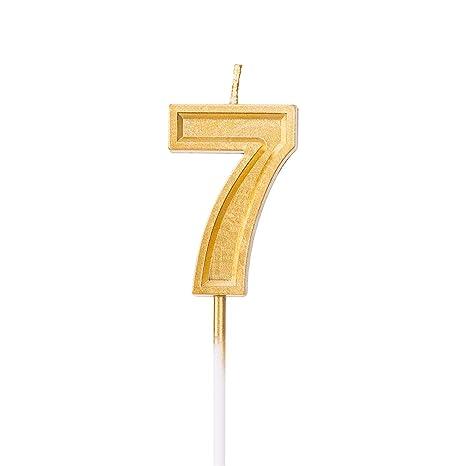 LUTER Velas de Cumpleaños Oro Rutilar Vela Numero 7 Velas de Pastel Cake Topper Decoración para Fiesta Infantil Adultos