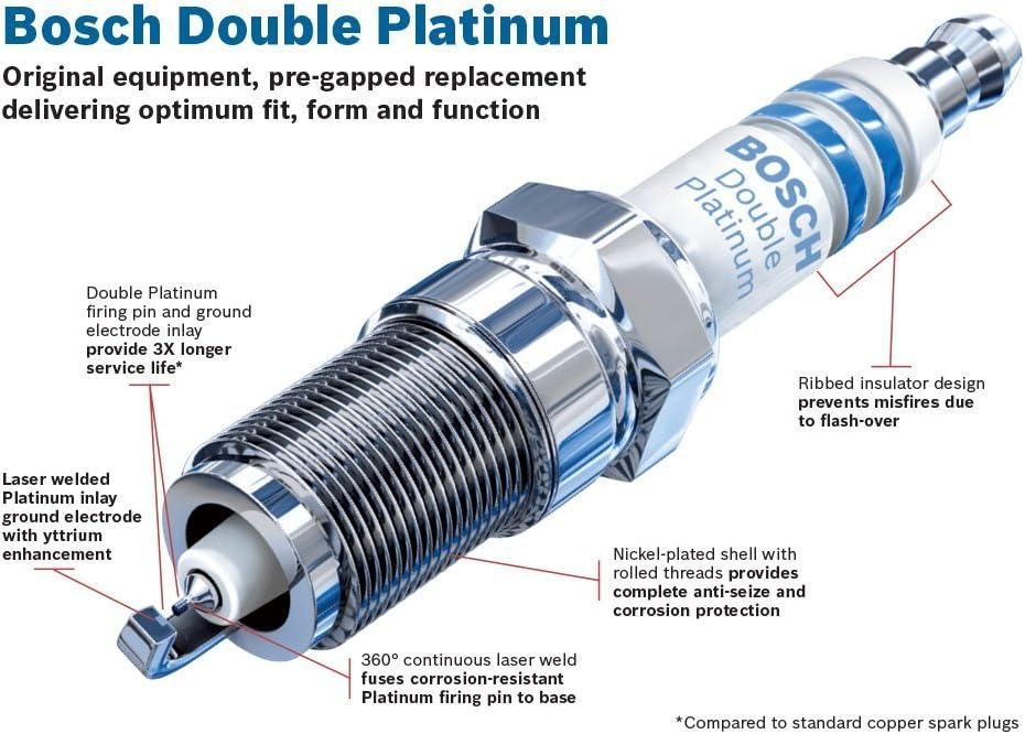 Double Platinum Spark Plug Up to 3X Longer Life Bosch FR7KPP33U Pack of 10