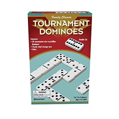 Family Classics Tournament Dominoes - Double Six Crystalline Tiles: Toys & Games