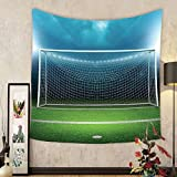 Gzhihine Custom tapestry Sports Decor Tapestry Soccer Goal Post Sports Area Winner Loser Line Floodlit Best Team Finals Game Gym Theme for Bedroom Living Room Dorm Green and Blue