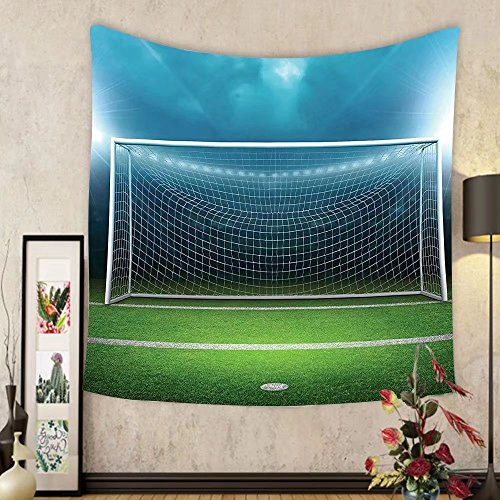 Gzhihine Custom tapestry Sports Decor Tapestry Soccer Goal Post Sports Area Winner Loser Line Floodlit Best Team Finals Game Gym Theme for Bedroom Living Room Dorm Green and Blue by Gzhihine
