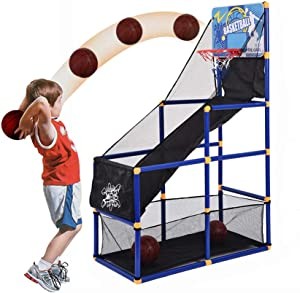 Basketball Circle Arcade Game | Toddler Toys Outdoor | Indoor Basketball Boy Birthday Gift for 5-10 Years Old Kid, Mini Indoor Outdoor Home Office Wall Stand Children Kids Game US Shipment (Black)