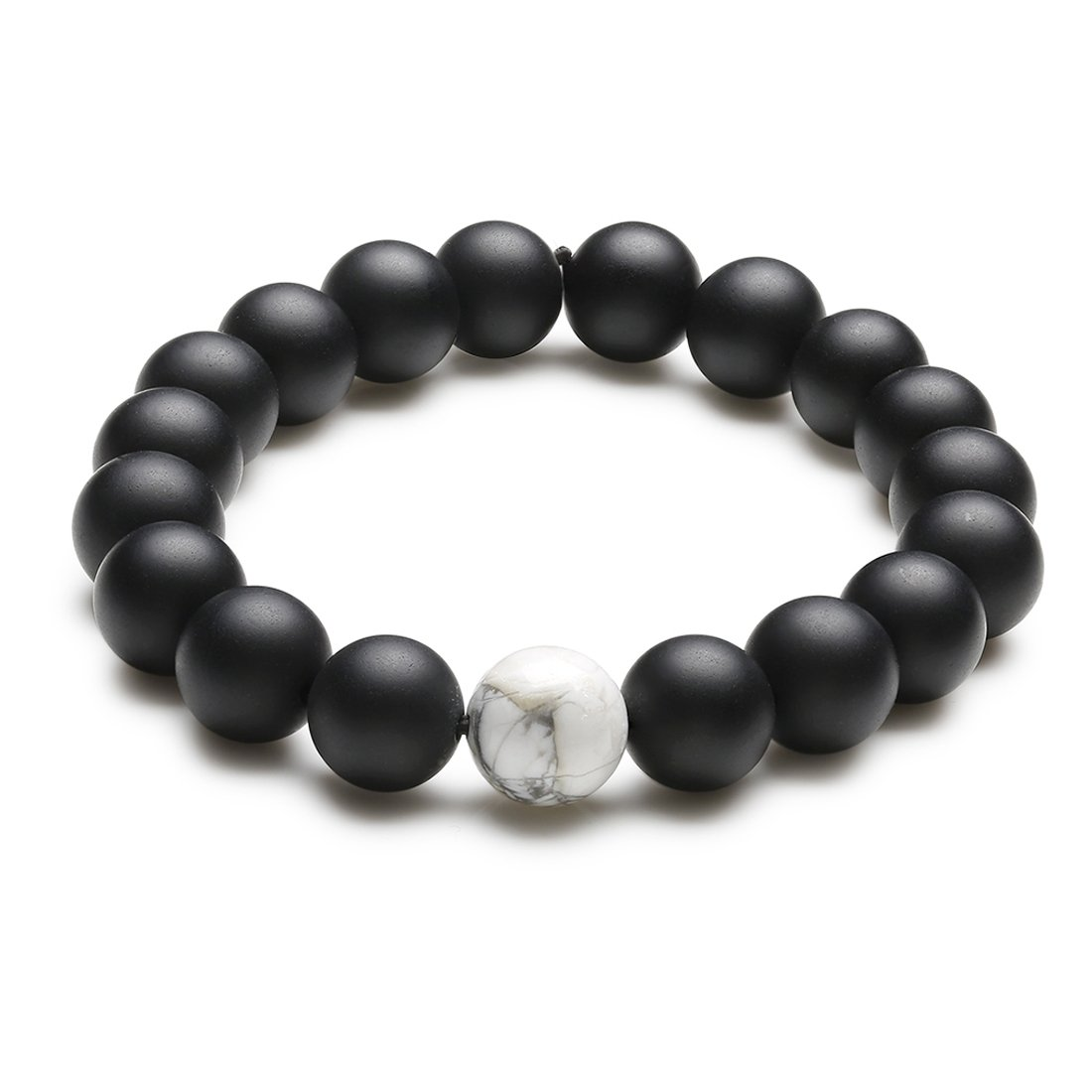Distance Couple Bracelet Relationship Black Matte Agate and White Howlite Stone His and Hers Beads 2Pcs Candyfancy B017-18