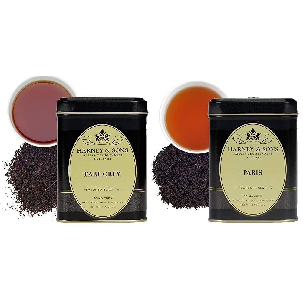 Harney & Sons Black Earl Grey Loose Leaf Tea, 4 Ounce & Paris Loose Tea in 4 oz tin, Fruity Black Tea with Caramel, Bergamot and Vanilla Flavors