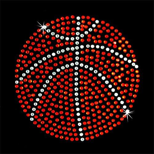 Iron on Hot Fix Rhinestone Motif Design Basketball Large