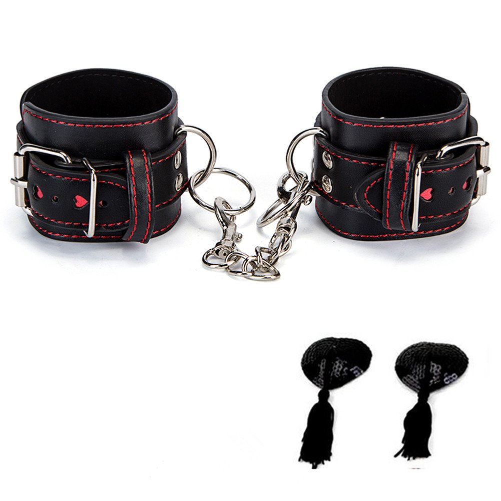 Adjustable Handcuffs Pu Leather Soft Wrist Cuffs With Gift