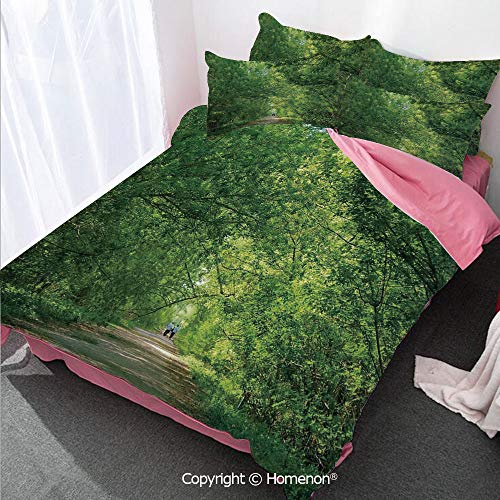 Homenon Landscape Duvet Cover Set Full Size,Fresh Forest Canopy Trees Over Footpath in an Old Park Peopl,Decorative 3 Piece Bedding Set with 2 Pillow Shams Green
