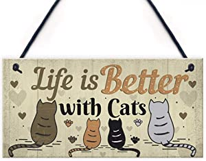 AOLUNO Wall Wooden Hanging Sign Funny Cats House Hanging Plaques Wine Bar Window Door Wall Decor Home Garden Yard Wood Plaques Decoration -1pcs