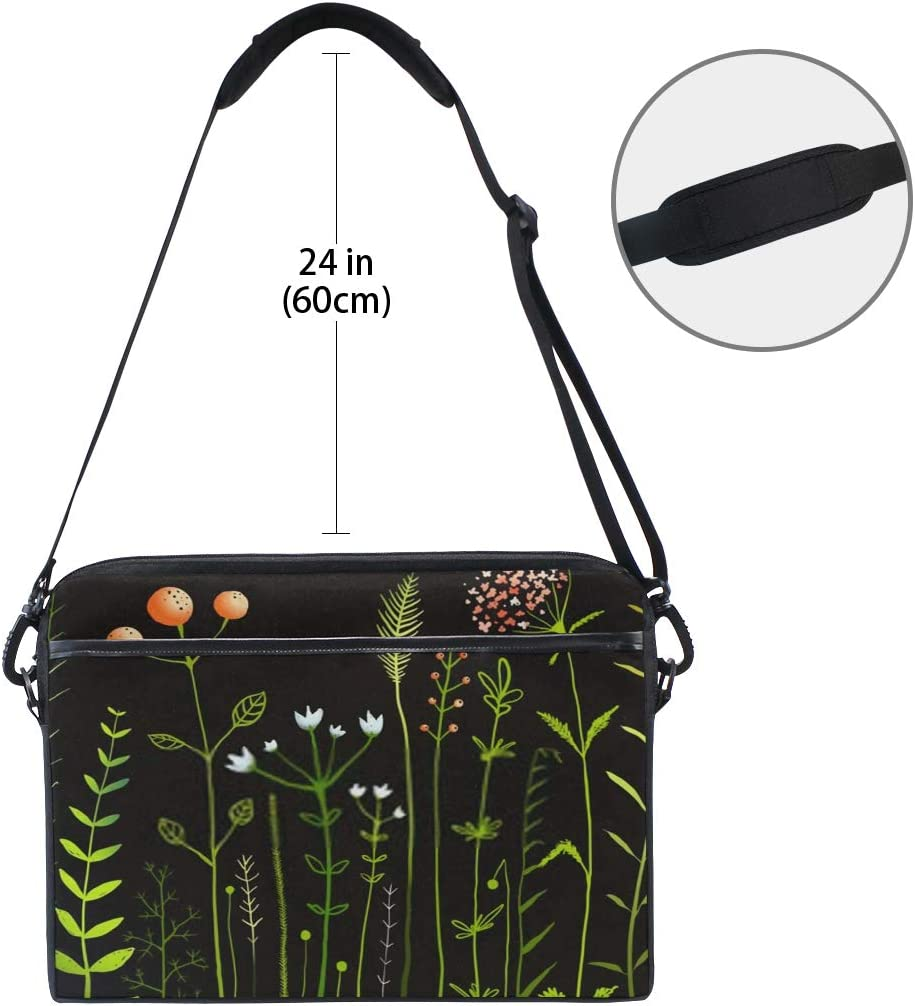 Laptop Bag Wild Flowers Grass Field On Black 15-15.4 Inch Laptop Case Briefcase Messenger Shoulder Bag for Men Women College Students Business Pe