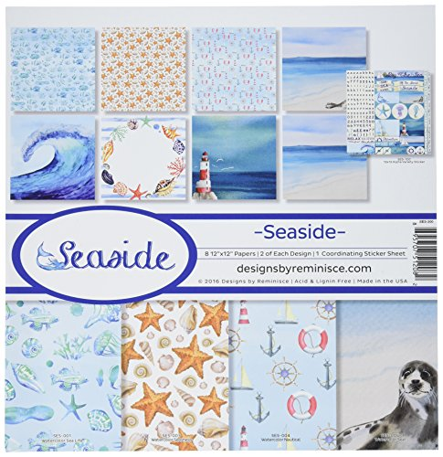 12 Scrapbooking Stickers - Reminisce SES-200 Seaside Collection Kit, 12