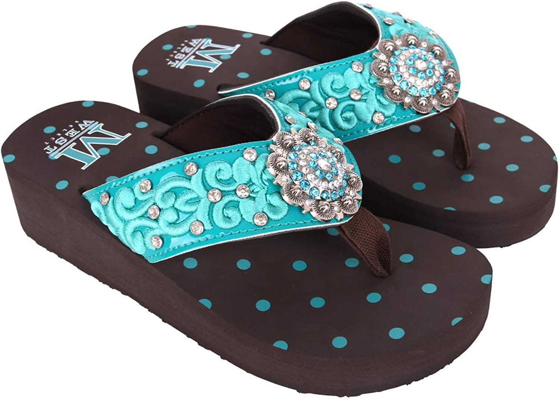 Montana West Wedge Flip Flops For Women Western Patriotic Rhinestone Concho Comfort Wedge Sandals