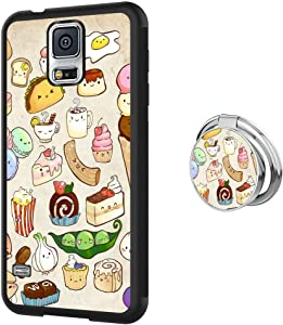 Samsung Galaxy S5 Case with Ring Holder Custom Food Pattern Soft TPU Rubber Shockproof Full Body Protective Cover Case for Samsung Galaxy S5