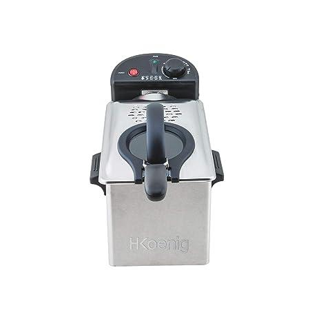 H.Koenig Freidora 3 litros de Aceite con Filtro, Eléctrica, 2100 W, Temperatura Regulable hasta 190 °C, con Ventana de Visualización, Acero ...