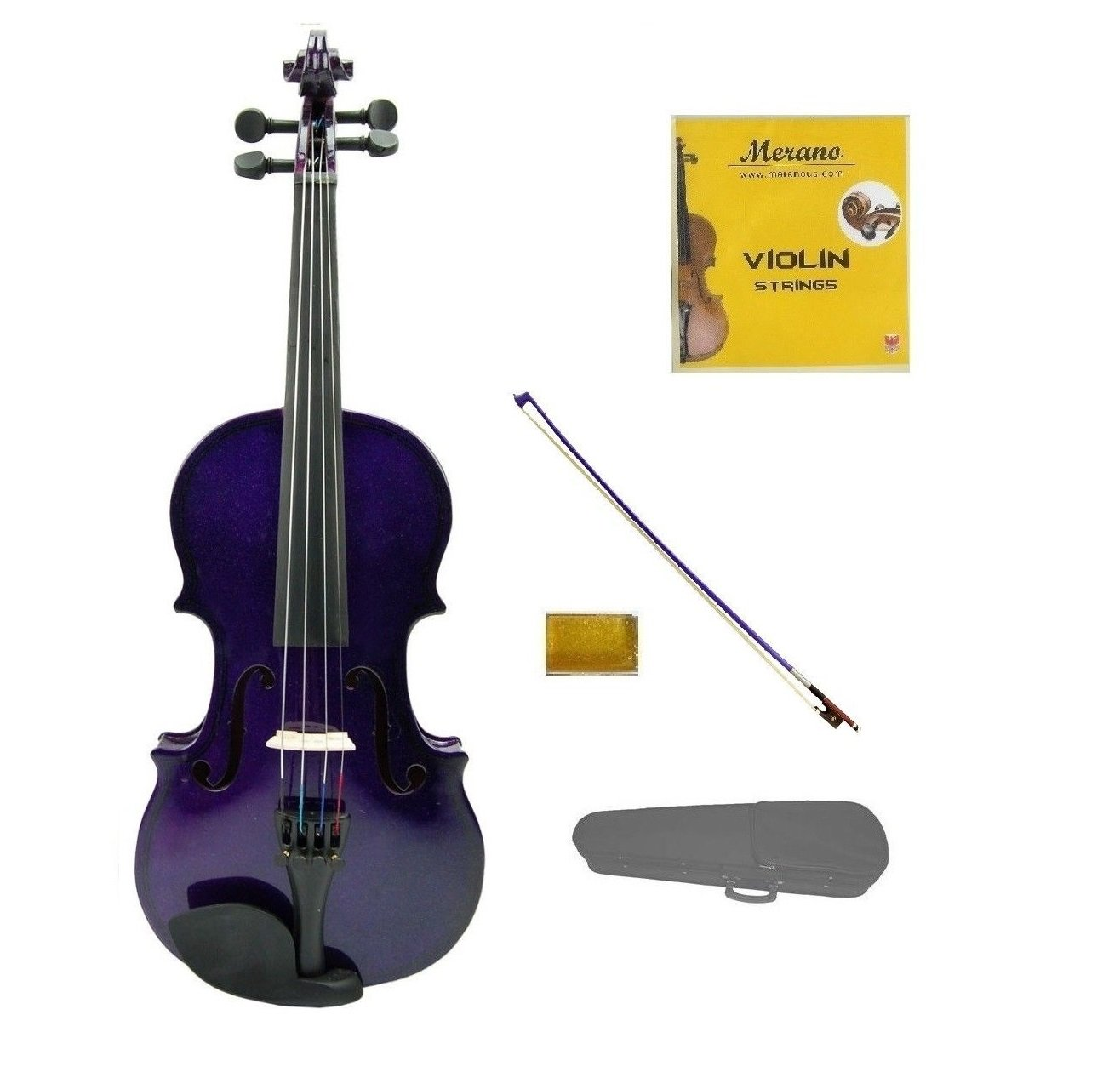 Merano 3/4 Size Purpe Violin with Purple Bow, Case, Free Rosin and Extra Set of Strings for Beginners, Students, Gifts, Toys by Merano