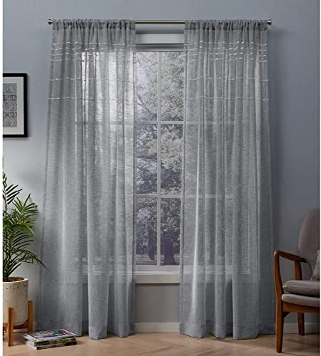 Exclusive Home Curtains Davos Puff Embellished Belgian Linen Sheer Window Curtain Panel Pair
