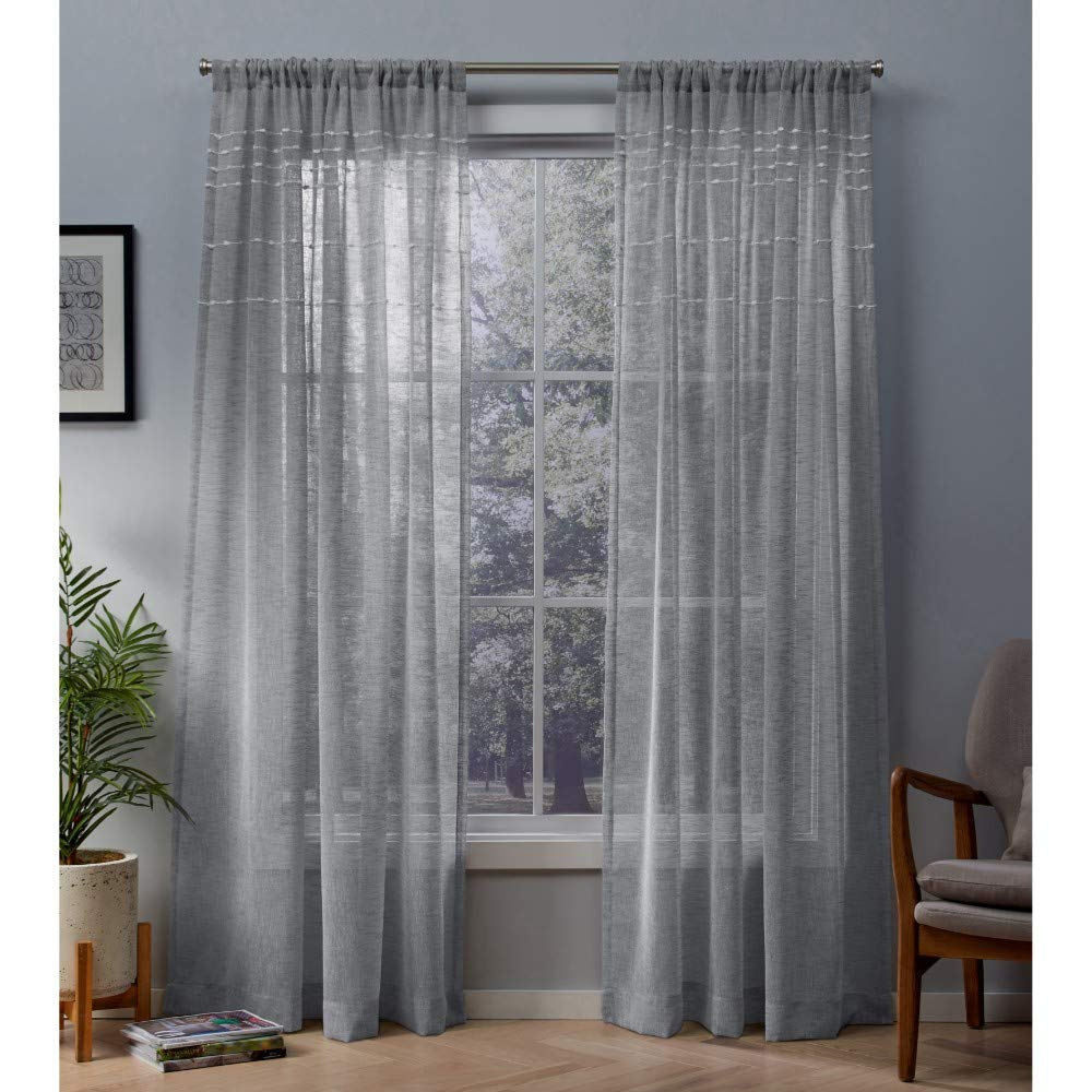 54x84 Exclusive Home Curtains EH8272-01 2-84R Winter White Exclusive Home Davos Puff Embellished Belgian Linen Sheer Rod Pocket Curtain Panel Pair