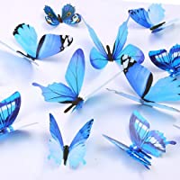 Butterfly Wall Decals, 24 Pcs 3D Butterfly Removable Mural Stickers Wall Stickers Decal Wall Decor for Home and Room Decoration (Blue)