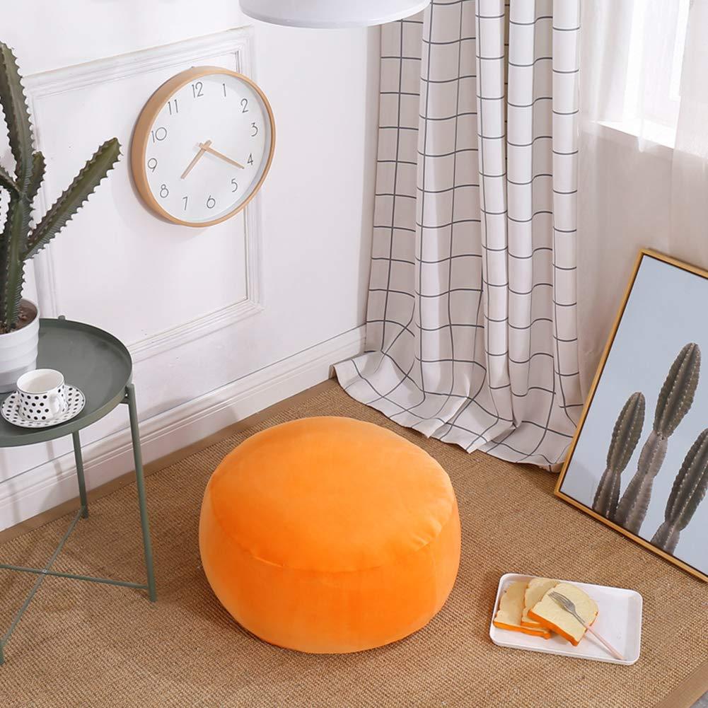 H&U Cartoon Chair Cushion,Tatami Solid Color Sofa Seat Pad Girl Princess Floor Chair For Video-gaming Reading-orange 50x35cm(20x14inch)