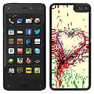 // PHONE CASE GIFT // Duro Estuche protector PC Cáscara Plástico Carcasa Funda Hard Protective Case for Amazon Fire Phone / Heart Art Colorful Painting Paint Drops Love /