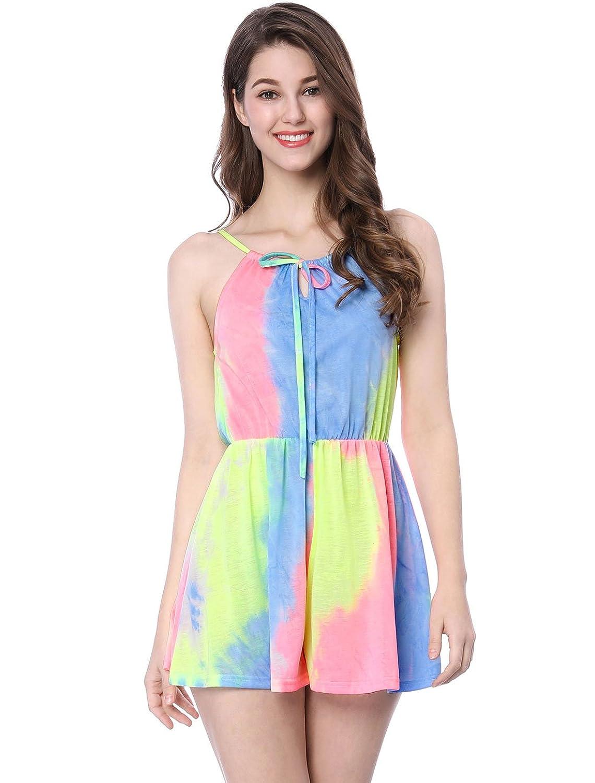 243b3282f1dd Allegra K Women s Drawstring Halter Neck Pastel Tie Dye Romper