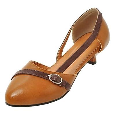 TAOFFEN Damen Gemutlich Schlupfschuhe Geschlossene Schuhe Kitten Heel Sandalen