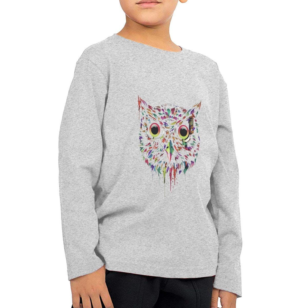CY SHOP Colored Owl Childrens Boys Cotton Long Sleeve T Shirts