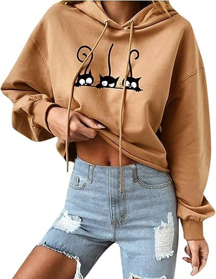 Sweat Shirts Femme,Sweats à Capuche Fille Sport Hoodie Pull