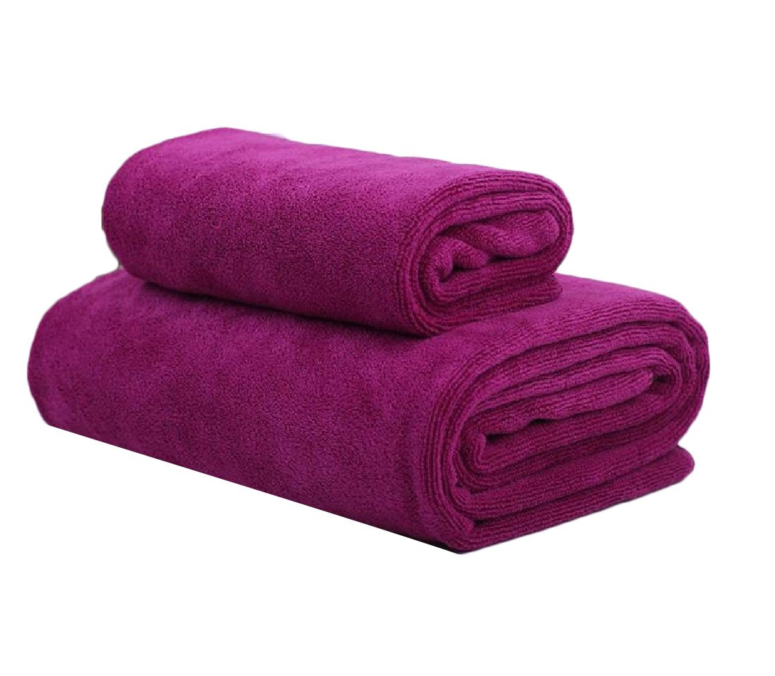 Fieer Super Absorbent Fit-and-Flare Plain Ideal for everyday use Contenta Flattering Dressy Premium Quality Oversized Bath Beach Spa and Fitness Towel Rose Red 80180