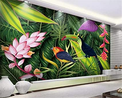 3d wallpaper large custom muralcustom mural hd hand painted3d wallpaper large custom muralcustom mural hd hand painted rainforest green plant nordic bird figure