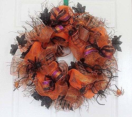 Extra large Halloween wreath for front door, Halloween decor, orange and black ()