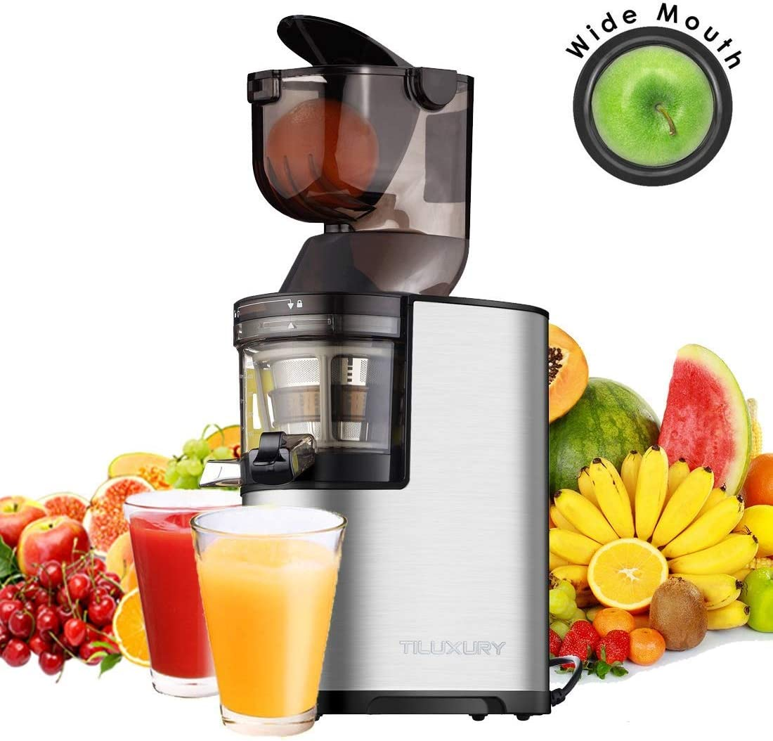 Juicers, Slow Masticating Juicer, 3 Wide Chute Cold Press Juice Machine, 3 In 1 Slow Cold Press Juicer for High Nutrient Fruits, Vegetables, Baby Food, Quiet Juices Extractor Reverse Function
