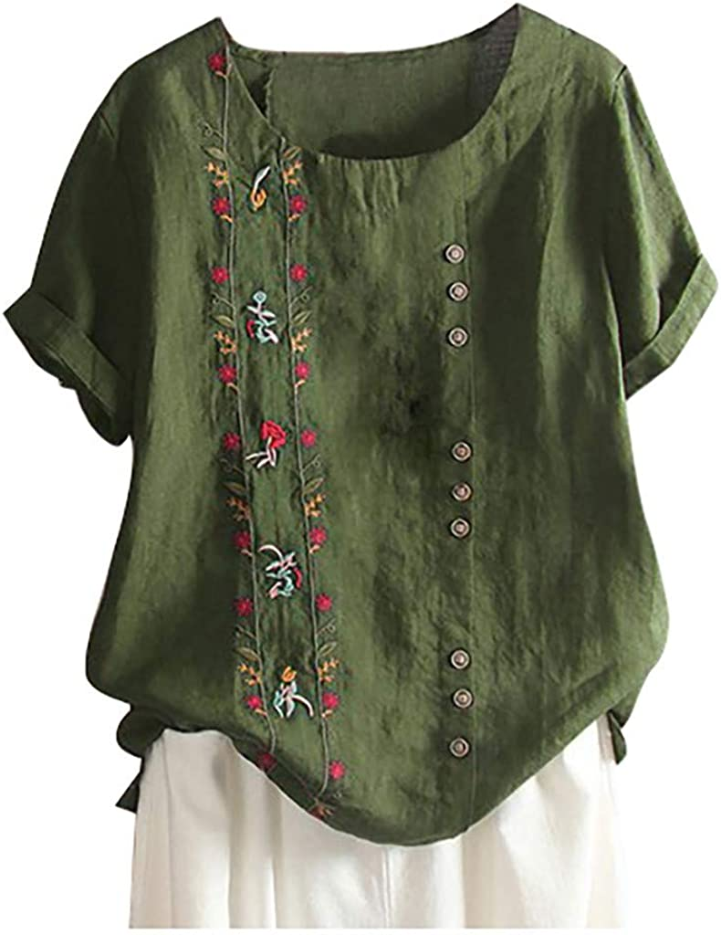 Allywit Plus Size Women Bohemian Floral Embroidered Shirt Cotton Linen Short Sleeves Top Loose Tunic Blouse
