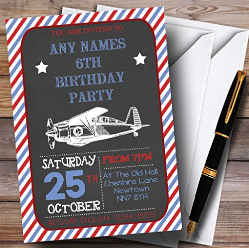 Vintage Airplane Childrens Birthday Party Invitations - Airplane Birthday Invitation