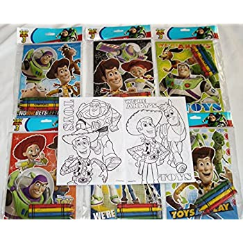 12 sets of disney pixar toy story coloring books and crayon set children party favors bag