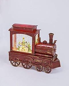 Gerson Lighted Spinning Musical Water Globe Train Holiday Scene Caroling Snowmen - 9.25 Inch