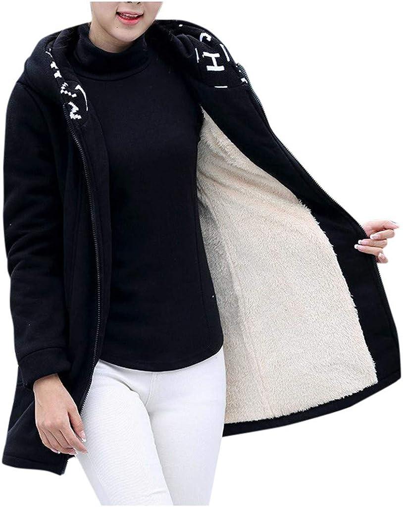 SFE Women Hooded Cardigan Winter Warm Velvet Solid Long Sleeve Full-Zip Composite Coats Sweatshirt with Pockets