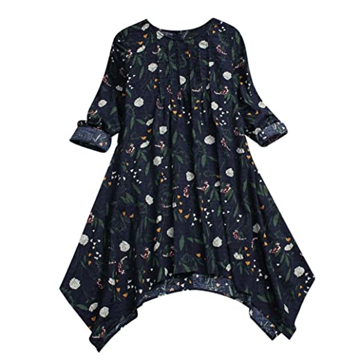 Sunhusing Women Cotton Linen Long-Sleeved Vintage Floral Print Folds Design Flowy Hem Shirt