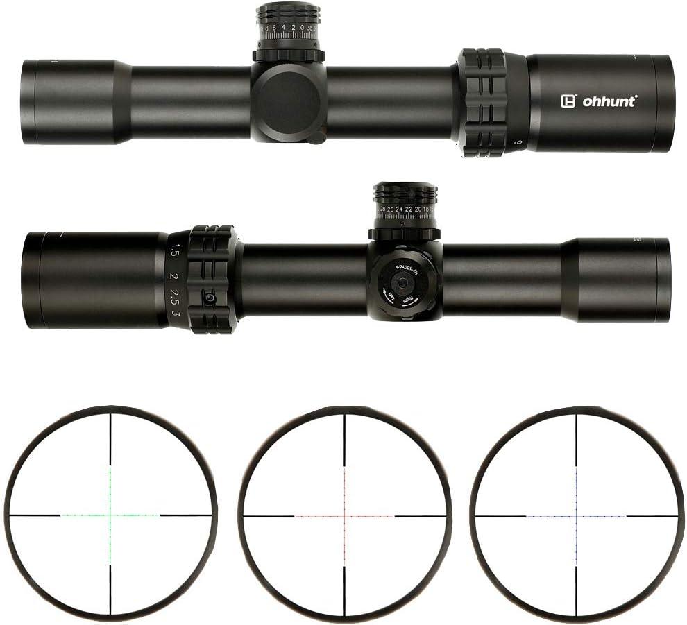 ohhunt Thin Edge 1-6X28ミルドットレチクルイルミネーション、付 20mmピカティニーマウントリングハンティングライフルスコープ