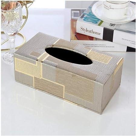 SGAHEIWI Caja de pañuelos de Cuero Hotel Coche Rectángulo Papel de Seda Servilleta Toalla Soporte Caja de pañuelos para el hogar, Gris L: Amazon.es: Hogar
