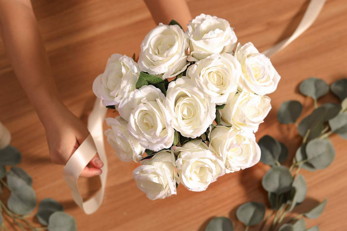 PARTY JOY Vintage Artificial Silk Rose Flower Bouquet Wedding Party Home Decor,Park of 10 (Milk White)