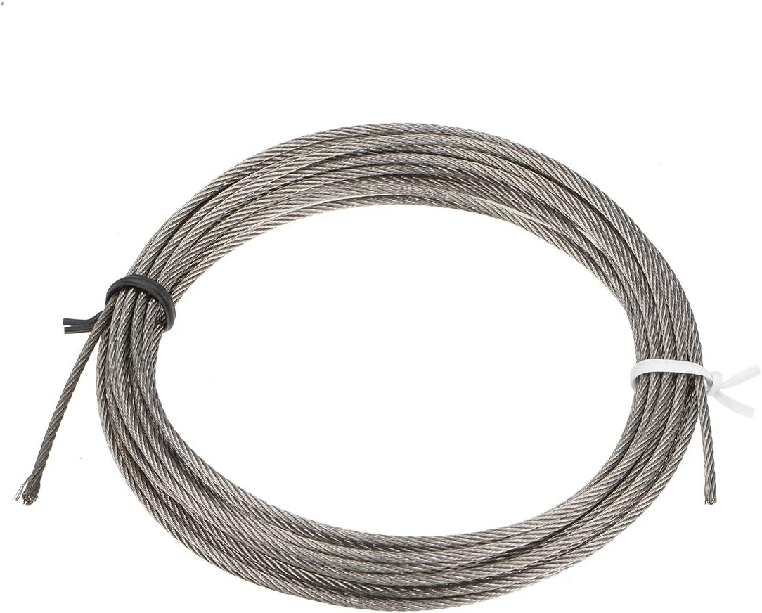 sourcing map Stainless Steel Wire Rope Cable 1.5mm Dia 4M 13ft Length 16 Gauge 304 Grade for Hoist Lifting Grinder Pulley Wheel