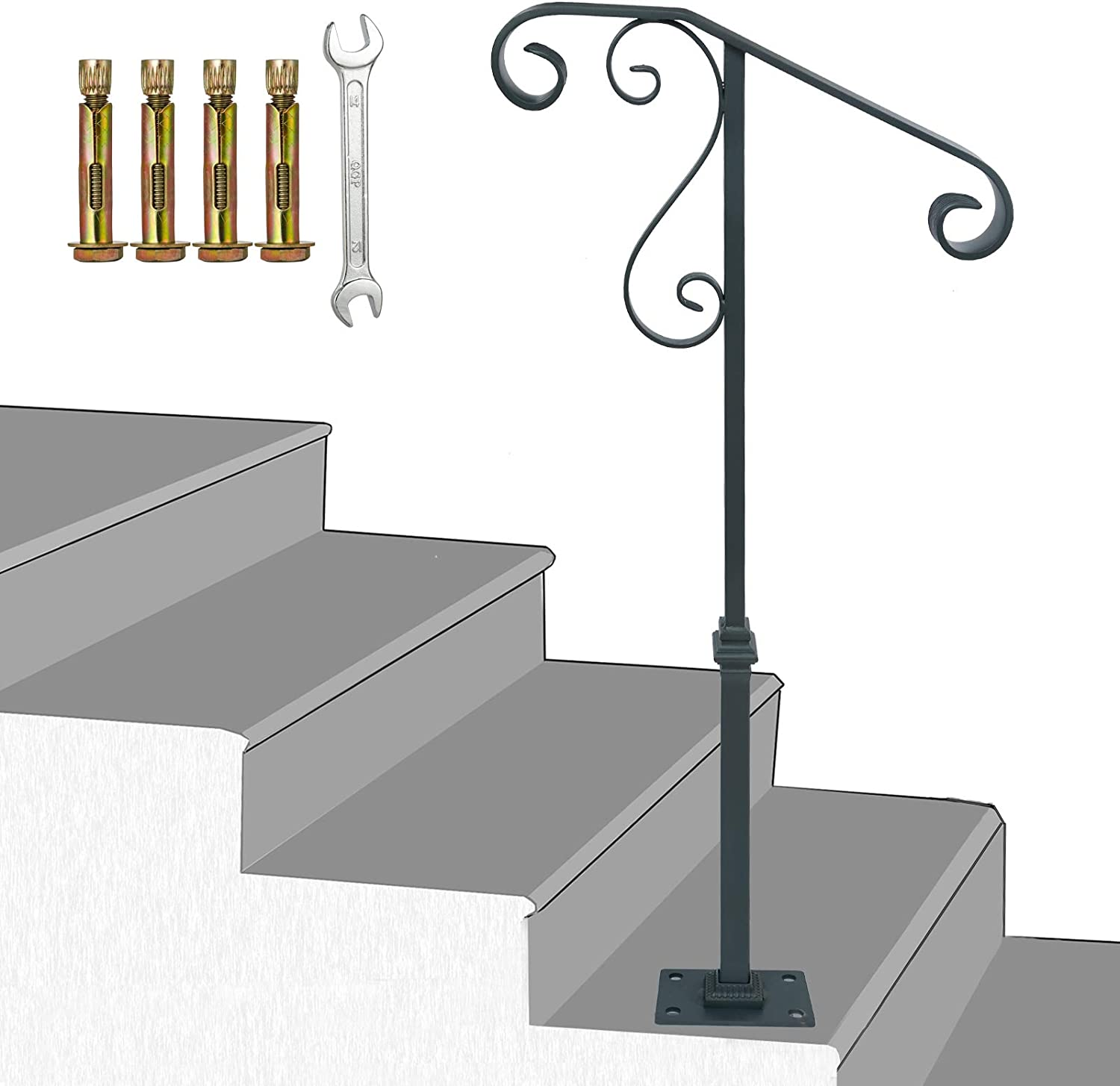 Handrail Railing,Single Post Sturdy Hand Railing with Base Wrought Iron Grab Supports Fits 1 or 2 Steps Grab Rail for Steps Porch,Gray