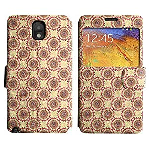 Be-Star Colorful Printed Design Slim PU Leather View Window Stand Flip Cover Case For Samsung Galaxy Note 3 III / N9000 / N9005 ( Red Circles ) Kimberly Kurzendoerfer