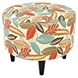 MJL Furniture Designs Sophia Collection Flora-Foliage Series Contemporary Round Ottoman, Coral/Orange/Teal/Brown/Wooden Legs
